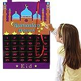 OurWarm Ramadan Calendar Eid Mubarak Hanging Countdown Calendar, Advent Calendar 2020 for Kids Eid Gifts Ramadan Decorations, Purple