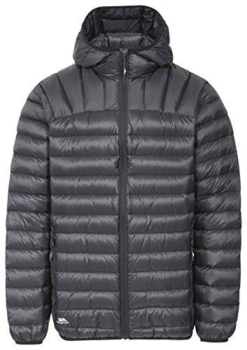 Trespass Romano, Black, XL, Zusammenrollbare Ultraleichte Warme Daunenjacke mit Kapuze, 90% Daunen für Herren, X-Large, Schwarz