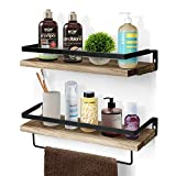 Amada Rustic Floating Shelves Wall Mounted, Solid Paulownia Wood Set of 2 for Kitchen, Bathroom, and Bedroom,...