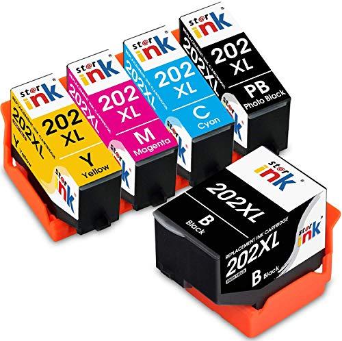Starink 202XL Cartucce Compatibile per Epson 202 202 XL Cartucce d'inchiostro per Epson Expression Premium XP-6000 XP-6005 XP-6001 XP-6105 XP-6100 (1 Nero, 1 Nero Foto,1 Ciano, 1 Magenta,1 Giallo)