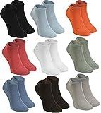 Rainbow Socks - Hombre Mujer Calcetines Cortos Colores de Bambu - 9 Pares - Negro Blanco Ceniza Naranja Oliva Beige Marrón Vaquero - Talla 44-46