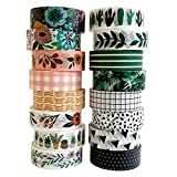 Washi Tape Set - 16 Rolls of 15 mm Wide Decorative Colored Tape...