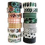 Washi - Juego de 16 rollos de cinta decorativa de colores de 15 mm de ancho para álbumes de recortes, diarios de bala, planificadores, bricolaje decoración y suministros de manualidades