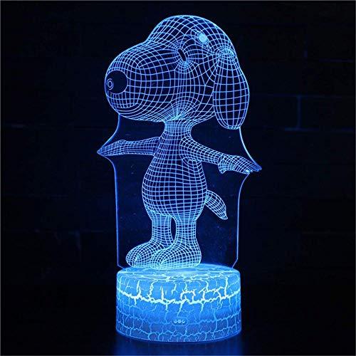 Luz nocturna 3D para niños, lámpara de noche con ilusión 3D Snoopy A 16 colores cambiantes con mando a distancia, decoración de habitación creativa personalizada cumpleaños para niños
