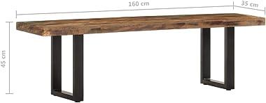 vidaXL Banc Meuble de Salle de Séjour Banc de Salon Banc de Couloir Entrée Maison Intérieur 160 cm Bois de Récupération Solid