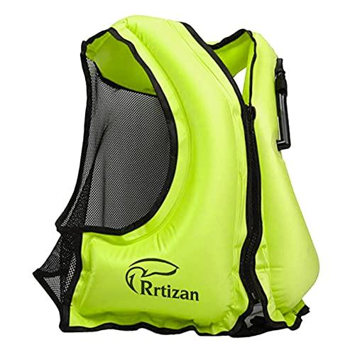 Rrtizan Simväst för vuxna, flythjälpmedel badjackor - bärbar uppblåsbar snorkel flotation säkerhetsjacka för kvinnor/män, bästa badvästarna för vattensporter, kajakning, båtliv, snorkling