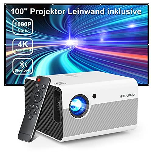 Bluetooth Beamer Full HD 1080P ,Heimkino Video Projektor Support 4K mit Screen, BIGASUO 8000L Outdoor Movie Beamer mit Zoom,Mini LED Projektor Kompatibel mit Handy/HDMI/USB/Laptop