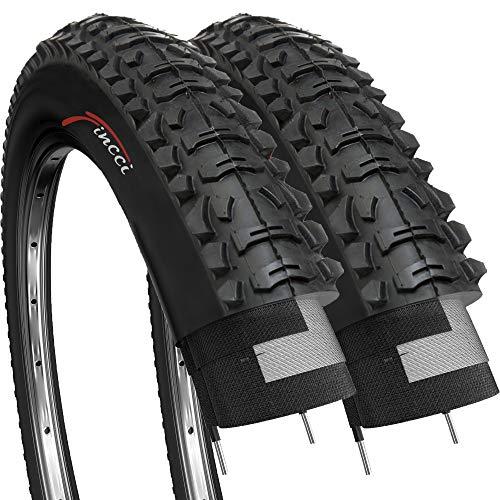 Fincci Coppia 26 x 1,95 Pollici 53-559 Pieghevole Pneumatici Copertoni per MTB Montagna Ibrida Bici Bicicletta (Confezione da 2)