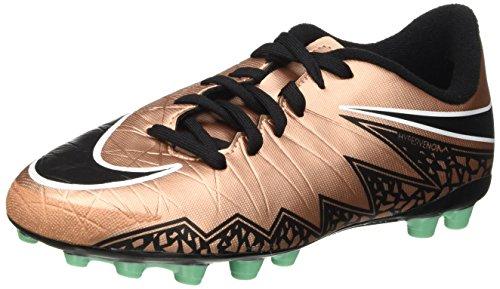 Nike Jr Hypervenom Phelon II AG, Botas de fútbol, Dorado/Negro/Verde/Blanco, 5 años EU