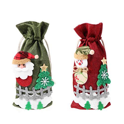 NICEXMAS 2 Unids Cubierta de La Botella de Vino de Navidad Bolsas de Botella de Vino Botella de Vino Suéter Vestido de Botella Bolsa de Regalo de Vino para La Cena de Navidad Decoración de