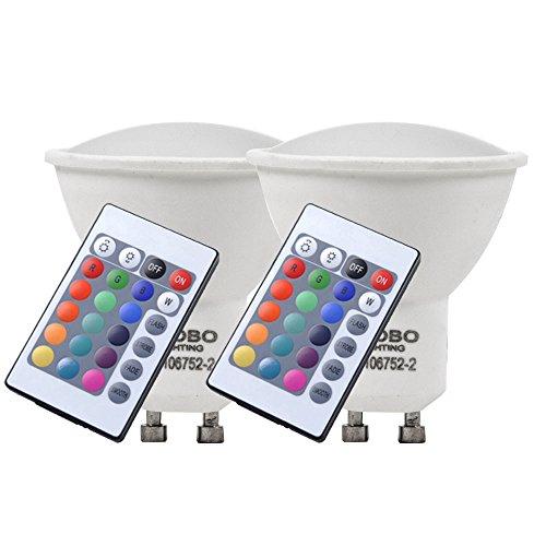 2er Set RGB LED 4 Watt Leuchtmittel Farbwechsel GU10 Sockel Lampe Globo 106752-2