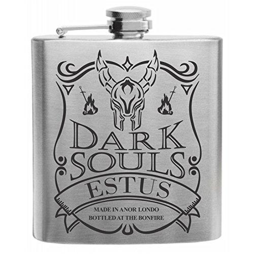 Crown Engraving Souls of The Dark Black Knight Estus Flask Stainless Steel Hip Flask 6oz Gift