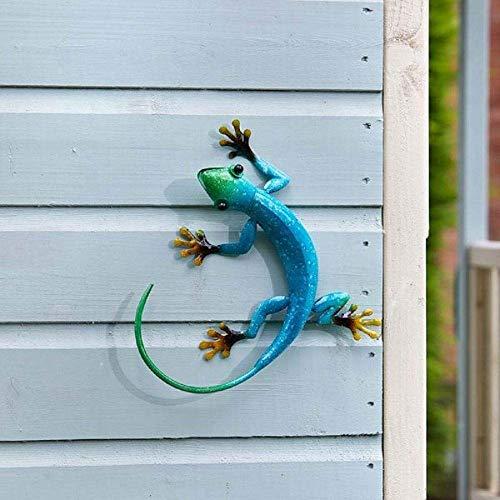 Flamboya Outdoor Decorative Gecko Wall Art Ornament in Azure Blue
