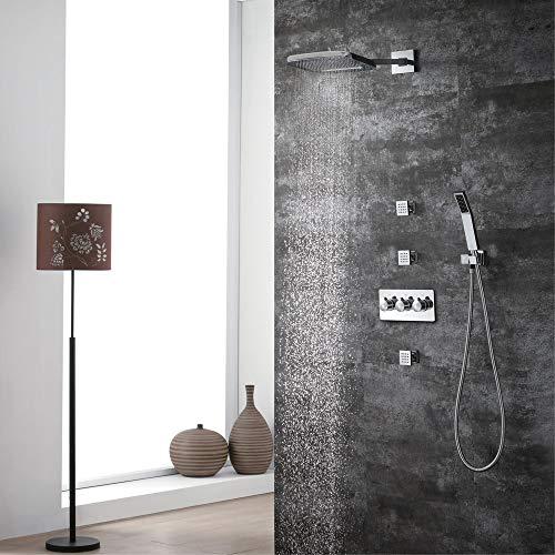 XLTT Juego de grifo de ducha oculto para ducha caliente y fría de cuatro funciones de cobre preincrustado caja de spray lateral 200 x 250 de dos funciones superior spray