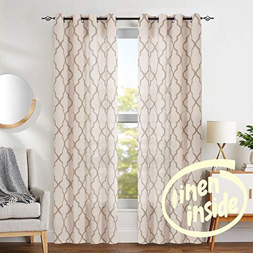jinchan Moroccan Tile Print Curtains for Living Room Quatrefoil Flax Linen Blend Textured Geometry Lattice Grommet Window Treatment Set for Bedroom 50' W x 84' L 2 Panels Taupe