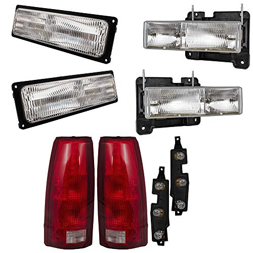 Brock Replacement 6 Pc Set Composite Headlights, Tail Lights and Front Signal Marker Lights Compatible with 1994-1999 C/K 1500 2500 3500 Old Body Style Pickup Truck