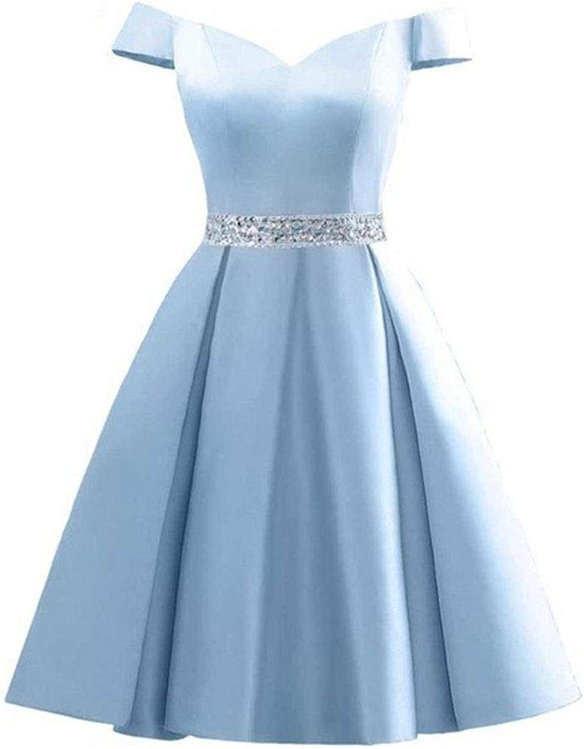 Kirabon Womens Sexy OneShoulder Dignified Little Evening Dress Birthday Party Dress (color   bluee, Size   US10)