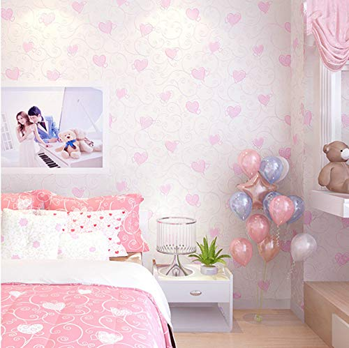 Svsnm Kinder Tapete Roll Mädchen Schlafzimmer Tapeten Vlies Tapeten Rosa Herz Tapete Kinderzimmer Tapeten, Papierwand 0,53X10 Mt