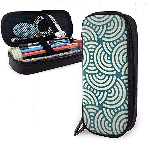 Semicircular Cute Pen Pencil Case Cuero Gran capacidad Cremalleras dobles Bolsa para lápices Bolsa...