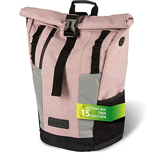 invilus ® - Rolltop Rucksack aus Recyceltem und Stark Reflektierenden Material - [Sicher durch die Nacht] - Für Uni, Sport, Arbeit oder Freizeit - Farbe Rosa