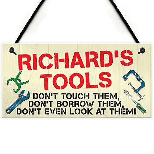 RED OCEAN Personalised Tools Rules Man Cave Garage Shed Sign Hanging Plaque Garden Funny Gift