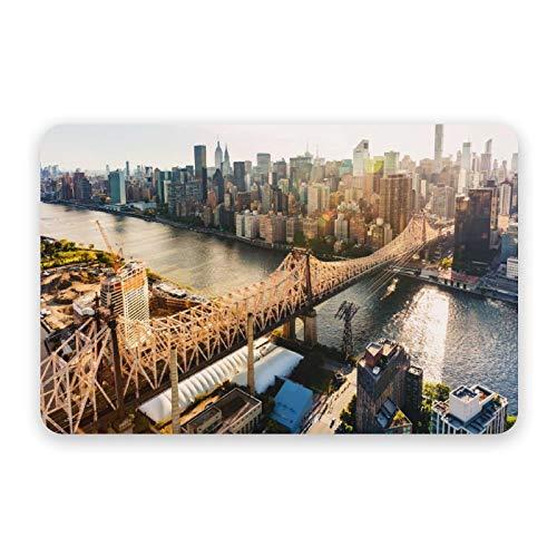 Diatom Mud Mat Ed Koch Queensboro Bridge sobre el East River en la ciudad de Nueva York, secado rápido y antideslizante, absorbente de diatomeas alfombrilla de baño 40 x 60 cm