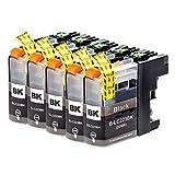 Cartucho de tinta Brother LC223 compatible con Brother DCP-J4120DW DCP-J562DW MFC-J480DW J680DW J880DW J4420DW J4620DW J5320DW J5620DW J5720DW (5 negro)