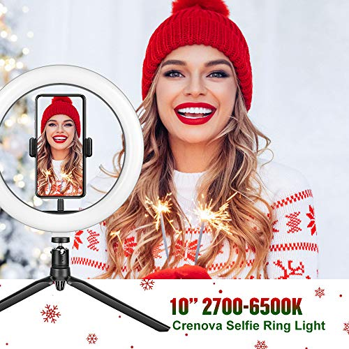 "Crenova 10"" LED Ring Light for Selfie Live Streaming/Makeup/YouTube Videos"