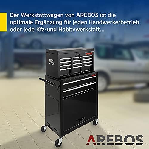 Arebos Werkstattwagen 9 Fächer/zentral abschließbar/Anti-Rutschbeschichtung/Räder mit Festellbremse/Massives Metall/rot oder schwarz (Schwarz) - 2
