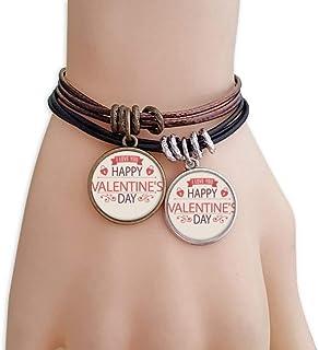 Cerradura del corazón Feliz día de San Valentín del Amor de Pulsera Doble de Cuero Cuerda
