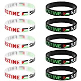 Free Palestine Silicone Wrist Band Palestine Palestinian Flag Bracelet Save Gaza (5PCS Black&5PCS White)