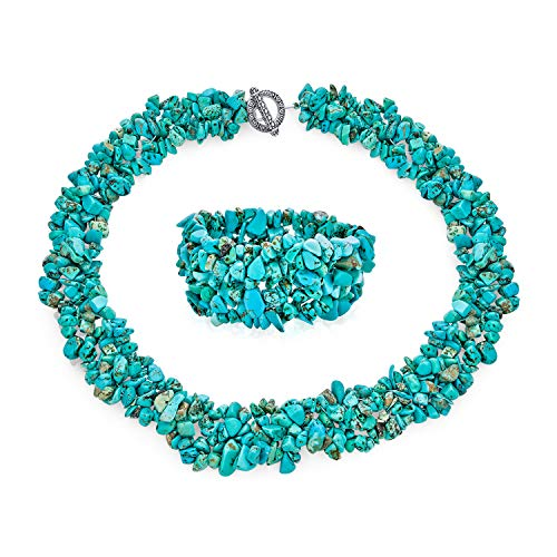 Large Wide Stabilized Turquoise Cluster Chips Bib Statement Collar Necklace...