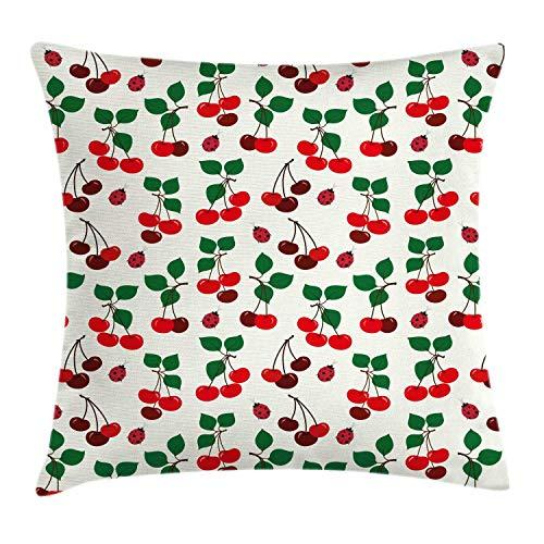 Funda de Cojine Funda de cojín de almohada de verano, patrón repetido de mariquitas y hojas de cerezas maduras en tonos granate Throw Cojín 45 X 45CM