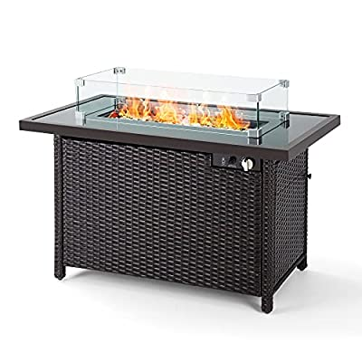 PAMAPIC Outdoor Fire Pits, 42 Inch 50,000 BTU Auto-Ignition Propane Fire Pit Table with Glass Wind Guard,Outdoor Fire Tables for Garden Patio Backyard Deck Poolside