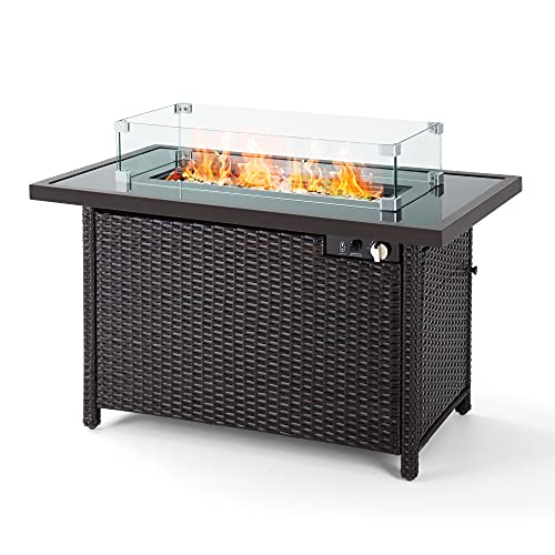 PAMAPIC Outdoor Fire Pits, 42 Inch 50,000 BTU Auto-Ignition Propane Fire Pit Table with Glass Wind...