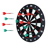 Portzon Dart Board, 16.4 Inch with 6 Rubber Safety Tip Darts Dartboard Game Set, Office Relaxing...
