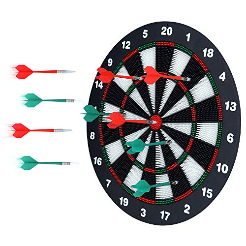 Portzon Dart Board, 16.4 Inch with 6 Rubber Safety Tip Darts Dartboard Game Set, Office Relaxing Sport & Family Leisure Time