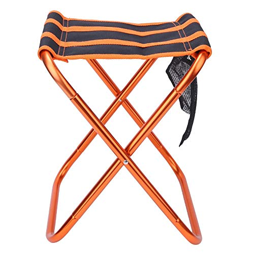 Bicaquu Robuster Outdoor 7075 Aviation Aluminium Klappstuhl, Stabil Klappbarer Hocker, Angelgrill Reisen für Camping(Orange Black, 28 * 24 * 22CM)