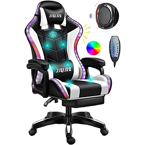 Video Gaming Chairs with LED Light, Ergonomic Pro Gaming Chair with Full Massage Lumbar Support, Bluetooth Speakers Computer Chair for Retractible Footrest and Backrest Adjustable,White