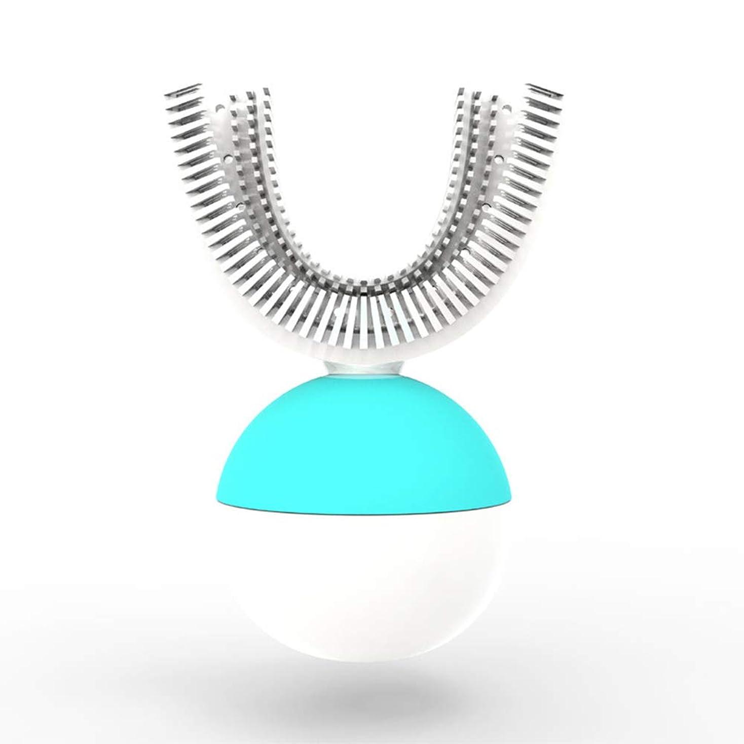 ワイヤレス充電による全自動電動歯ブラシ360°インテリジェント自動、ポータブルUタイプ歯ブラシ、10秒タイマー、IPX7防水