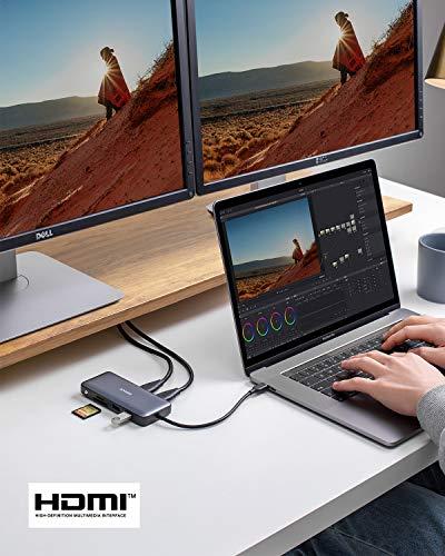 Anker PowerExpand 8-in-1 USB-C Adapter, USB-C Media Hub, Dual 4K HDMI, 100W Power Delivery 1 Gbps Ethernet 2 USB 3.0 Datenports, SD&microSD Speicherkartenleser für MacBook Pro, Pixelbook und mehr