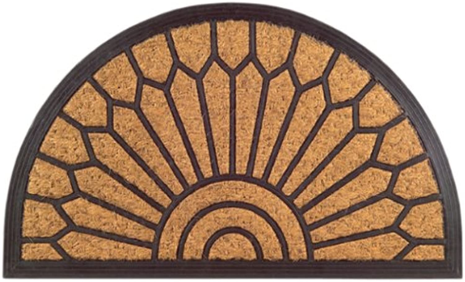 Imports Decor Half Round Rubber Back Coir Doormat, Lily, 18-Inch by 30-Inch