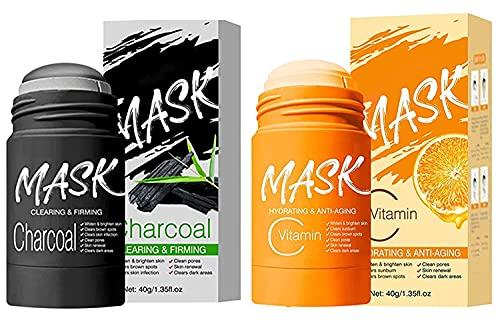 Mascarilla en barra de carbón/vitamina C para arcilla purificadora facial, limpieza profunda de poros, piel nutritiva hidratante, para todo tipo de piel hombres mujeres