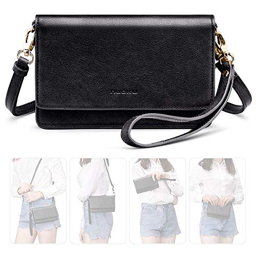 nuoku Women Small Crossbody Bag Cellphone Purse Wallet with RFID Card Slots 2 Strap Wristlet(Max 6.5'')(Black)
