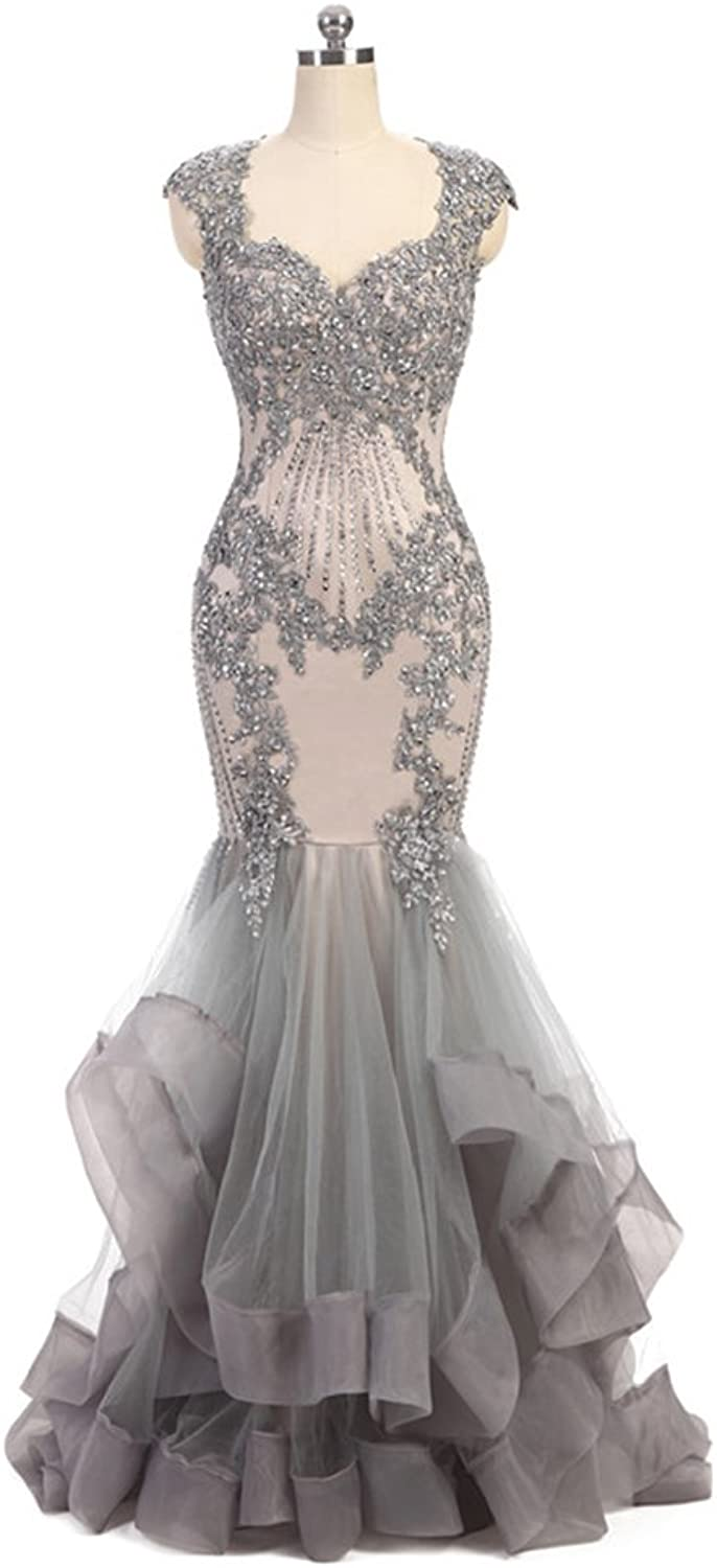 Chenghouse Mermaid Prom Dresses Open Back Beaded Evening Party Gowns