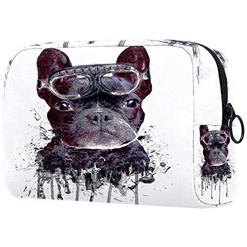 Bolsa de maquillaje negra de Bulldog francés, organizador de viaje portátil para niñas y mujeres