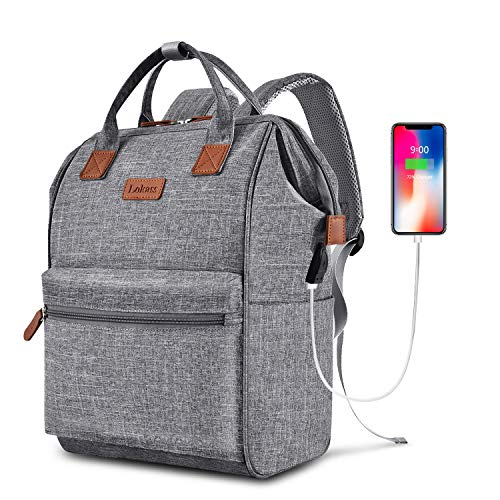 LOKASS Laptop Backpack 15.6 Inch Wide Open Computer Backpack Laptop Bag College Rucksack Water Resistant Business Travel Backpack Multipurpose Casual Daypack with USB Charging Port for Women Men,Gray
