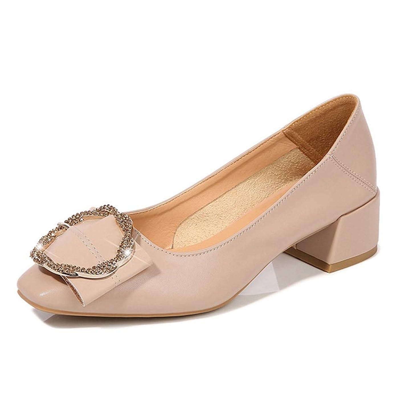 下手バズアイデアパンプス 太ヒール ビジュー付き レデース 歩きやすい 痛くない スクエアトゥ フォーマル アプリコット 婦人靴 春夏用 大きいサイズ 25.5 アプリコット