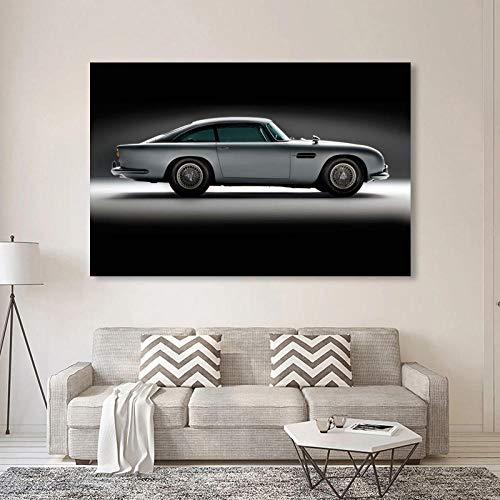VVSUN Aston Martin DB5 Coche Negro Pintura Pared Arte impresión Cartel Moderno Lienzo Imagen para decoración del hogar 60X80cm 24x32 Pulgadas sin Marco