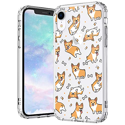 MOSNOVO Cute Corgi Pattern Designed for iPhone XR Case,Clear Case with Design,TPU Bumper with Protective Hard Case Cover